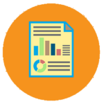 Orange icon with financial graphics on the Adcon Business Solutions' website homepage